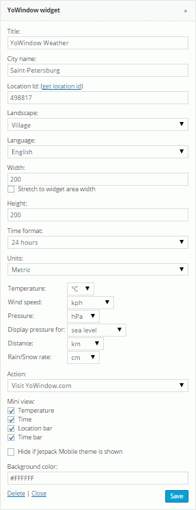 Settings YoWindow Widget for WordPress