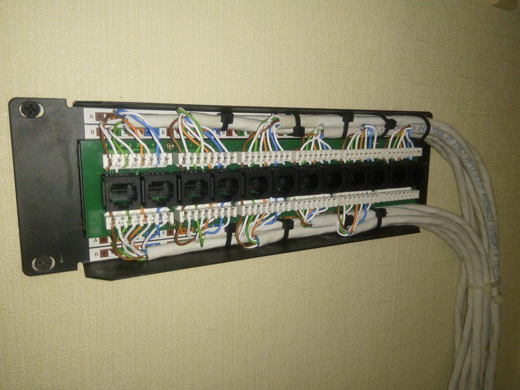 Патч панель LY-PP5-48. Разводка нижнего ряда