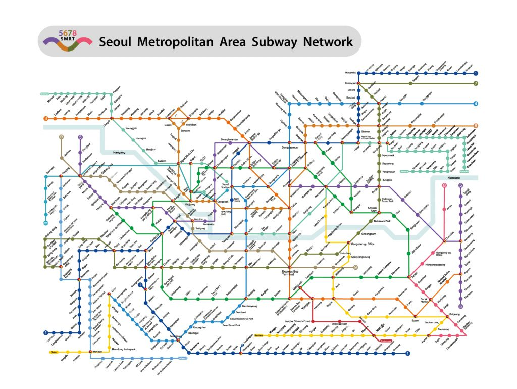 Южная Корея. Сеул. Карта метро